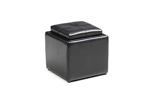 HODEDAH IMPORT HI 1184 Black PVC Faux Leather Ottoman, (Double Storage Ottoman With Tray)