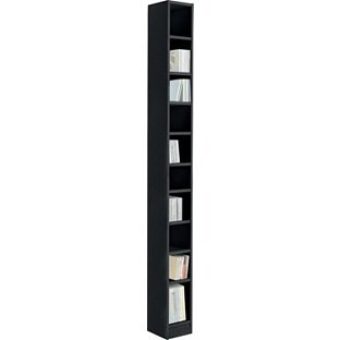 Freestanding Maine Tall DVD And CD Media Storage Tower   Black Ash Effect  By OnlineDiscountStore