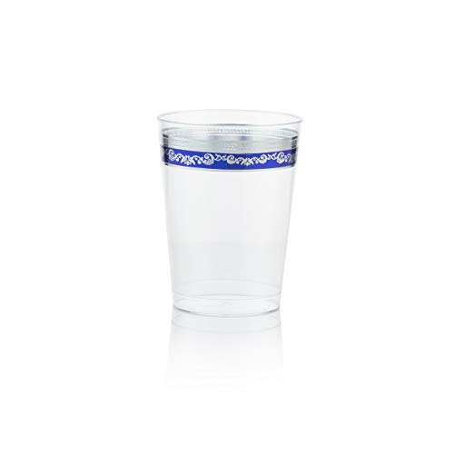 Posh Setting Royal Collection Clear Plastic 10 oz. Tumblers (Cups) with Silver/Blue Design 40 Pack