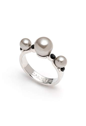 Carolee Women's Silver Pearls and Jet Stone Ring ()