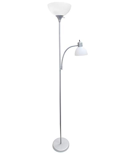 Simple Designs Home LF2000-SLV Floor Lamp with Reading Light, Silver by Simple Designs Home (Image #2)