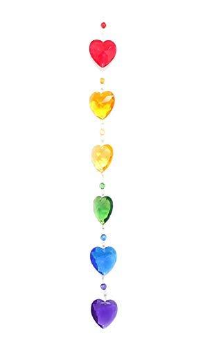 (G Ganz Crystal Acrylic 15 inches Rainbow Heart Suncatcher Ornament)
