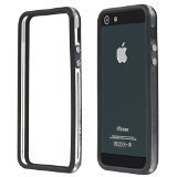iphone 5 bumper metal - MBox TPU Silicone Bumper Case Cover with Metal Buttons for iPhone 5 5S 5th Gen Black