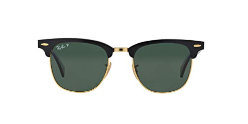 Ray-Ban RB3507 CLUBMASTER ALUMINUM Unisex Sunglasses (Black Frame/Green Polarized Lens 136/N5, ()