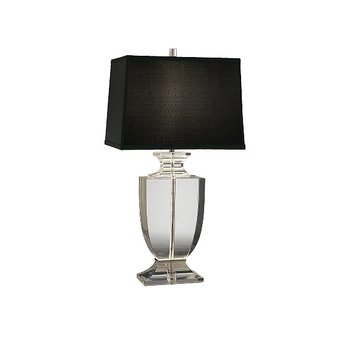 Robert Abbey 3324B Lamps with Rectangular Black Dupioni Silk Shades, Clear Lead Crystal/Silver Plate Accents - Abbey Table Rectangular Robert Lamp
