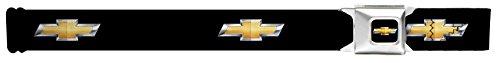 Accessories Designer Belts - Buckle-Down Seatbelt Belt - Chevy Bowtie Black/Gold Logo REPEAT - 1.5
