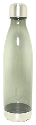 Silver One 27oz Durable Tritan Plastic Travel Narrow Water Bottle | Leak-Proof Portable Cola Shape Bottle | Stainless Steel Twist Cap (BPA FREE)