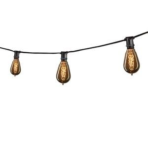 Bulbrite 860283 STRING15/E12/BLACK-NOSST15-KT Black Outdoor String Light with Vintage Edison Spiral Filament Bulbs, 25'