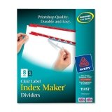 Avery Index Maker Punched Clear Label Tab Divider - 8 x Tab Blank - 8 Tab(s)/Set - 8.5amp;quot; x 11amp;quot; - 5 / Pack - Red Tab