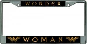 Wonder Woman Justice League Chrome License Plate Frame