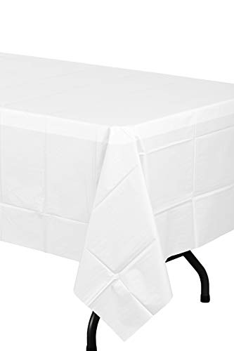 Exquisite 12-Pack Premium Plastic Tablecloth 54 Inch. x 108 Inch. Rectangle Table Cover-White - Premium quality protection: This 12 pack of 54 in. X 108 in. Rectangle White plastic tablecloths will cover any table up to 8 feet. Unlike your typical paper Table clothes these disposable table covers for parties are spill and waterproof! ! ! High opacity: covers any Table with minimal transparency. Great plastic Tablecloth For parties, weddings, holiday party, birthday parties, Christmas, thanksgiving dinner, BBQ, and any other color themed event. Disposable: disposable works! When the party is over, cleanup is easy - just Roll up the disposable tablecloth and dispose of it. - tablecloths, kitchen-dining-room-table-linens, kitchen-dining-room - 21DAcpgYSyL -