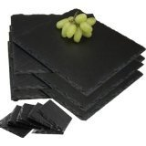 Rectangle Boxed (Gift Boxed set of 12 Piece Natural Slate Rectangle Placemats & Coasters Tablemat Dinner Drinks Set. Hand Made by Craftsmen and Craftswomen)
