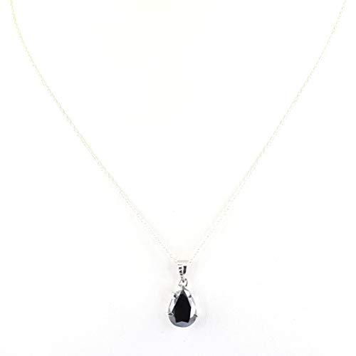 skyjewels Certified 2.05 Carat Pear Cut Black Diamond Solitaire Chain Pendant in Sterling Silver