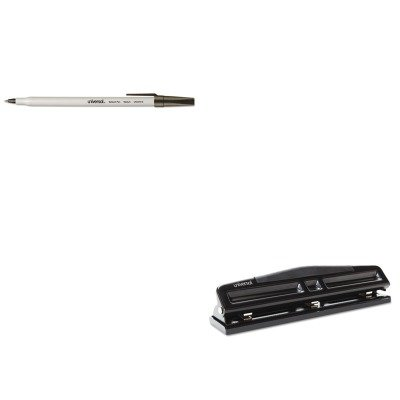 - KITUNV27410UNV74323 - Value Kit - Universal 12-Sheet Deluxe Two- and Three-Hole Adjustable Punch (UNV74323) and Universal Economy Ballpoint Stick Oil-Based Pen (UNV27410)
