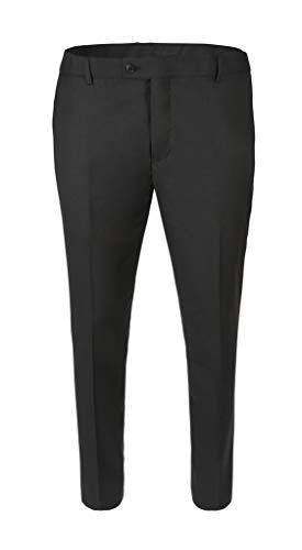 RGM Mens Slim fit Dress Pants Flat-Front - Modern Formal Business Wrinkle Free No Iron Black 48W x 29L-Slim]()