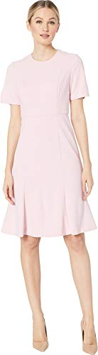 Donna Morgan Womens Short Sleeve Knitted Crepe Fit and Flare Dress Shell Pink 2 2