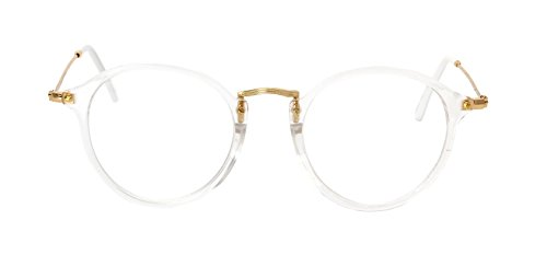 Caixia SJT-2447 Plastic Frame Wire Temples Round 50mm Eyeglasses Small Size - Bans Ray Cheap Glasses
