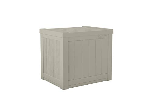 Suncast Small SS500 22 Gallon Resin Deck Storage Box, Light Taupe