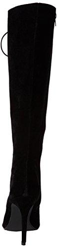 Mujer Altura De La Rodilla Cordones Separar Peep Toe Estilete Enjaulado Tacones Altos Botas Negro