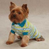 East Side Collection ZM3023 20 16 Brite Striped Polo Top for Dogs, Large, Bluebird