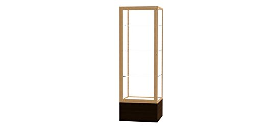 Waddell 4024CB-GD-WV Keepsake 24 x 72 x 24 in. Walnut Aluminum Frame Vinyl Base Floor Display Case44; Clear Back - Champagne - Waddell Vinyl Frame