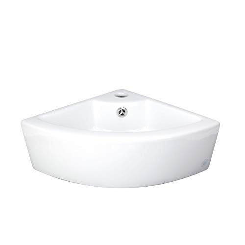 Renovator's Supply Manufacturing Small Corner Vessel Sink Above Counter Top White Grade A Vitreous China Ceramic With Single Faucet Hole And Overflow Compact Space Saving Design