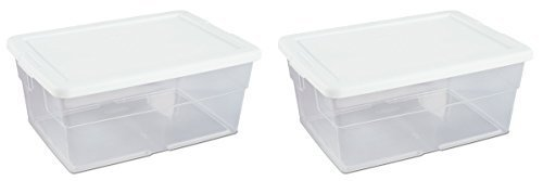 Sterilite 16 Quart Basic Clear Storage Box with White Lid (Pack of 2)