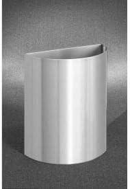 Glaro Inc. Glaro 29 Gallon Half Round Open Top Waste Receptacle Without Liner, Satin Aluminum - 2496-SA