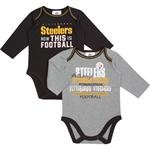 Pittsburgh Steelers Baby Clothes (NFL Pittsburgh Steelers Girls Long Sleeve Bodysuit (2 Pack), 3-6 Months,)