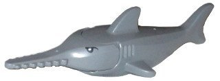 Lego Dark Bluish Gray Sawfish with Gills and Printed Eyes Pattern x1 Loose