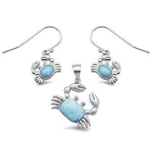 Natural Larimar Crab Design Earring & Pendant 925 Sterling Silver Set - Jewelry Accessories Key Chain Bracelet Necklace Pendants