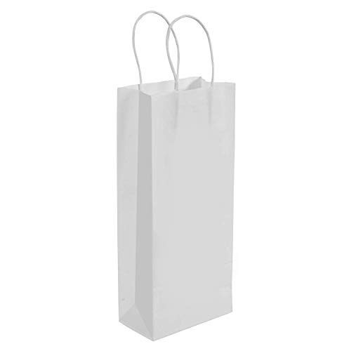 PREMIUM QUALITY WHITE PAPER WINE/GIFT BAG WITH STRONG WHITE ROPE HANDLE BY PEXALE(TM) (white, 50)