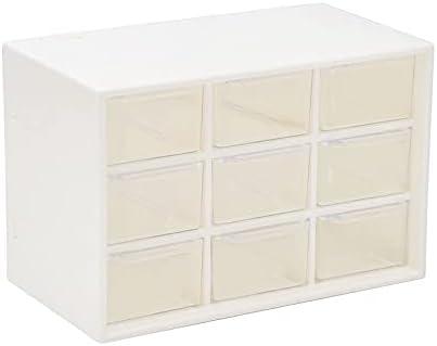 Translucent Drawer Type Storage Drawers Low Price Nine-grid Desktop Box Cosmetics Shelf Tape Drawer Organizer (Color : White, Size : 1 pieces)