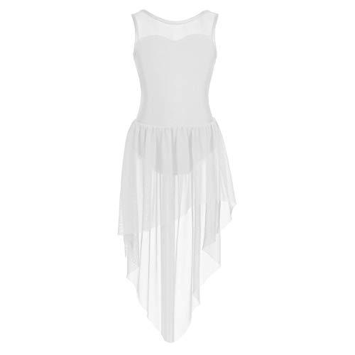 TiaoBug Girls Praise Liturgical Loose Fit Latin Ballroom Sleeveless Ballet Lyrical Dance Overlay Dress Worship Costumes White(High-Low) 6