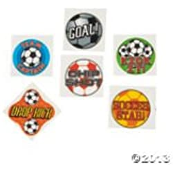 72 SOCCER BALL Temporary TATTOOS/Party FAVORS/GOAL/DROP Kick/CHIP Shot/TEAM Captain/STAR/Sports TEAM Parties