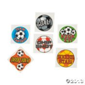 72 SOCCER BALL Temporary TATTOOS/Party FAVORS/GOAL/DROP Kick/CHIP Shot/TEAM Captain/STAR/Sports TEAM ()