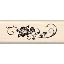 Inkadinkado Long Scroll Wood Stamp_95975 (Flower Border Rubber Stamp)