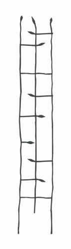 Panacea Products Narrow Forged Twig Trellis with Leaves, Black