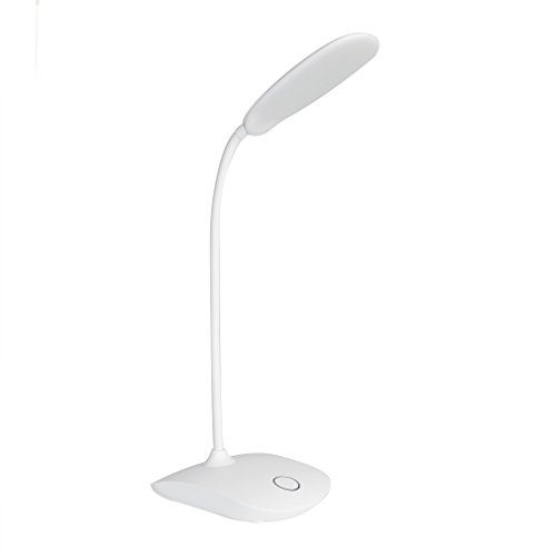 LED Desk Lamp, 5W Touch Control Dimmable Table Lamp Battery Operated 3 Level Brightness Lamp, 18LED Gooseneck Compact Portable Eye-Caring Desk Lamp for Bedroom Study Office by DEEPLITE, White