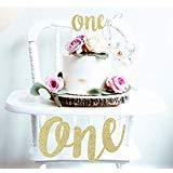 1st First Birthday Decoration Set One High Chair Banner and One Cake Topper (Gold) -