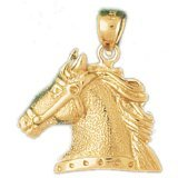 CleverEve 14K Yellow Gold Pendant Horse Head 3.7 Grams