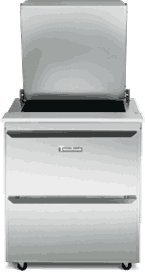 Traulsen UST279-D Dealer's Choice Compact Prep Table Refrigerator with low profile flat cover (Traulsen Table Prep)