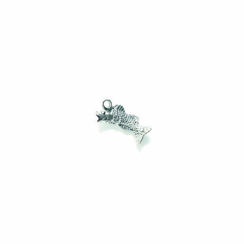 (Shipwreck Beads Pewter Bass Fish Charm, Silver, 10 by 22mm, 4-Piece )