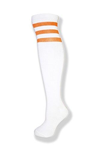 (Unisex White Knee High Team Tube Socks w/Three Various Colored Stripes (White w/Neon)