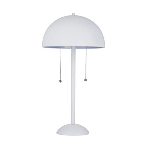 Rivet Aster Modern Dome-Shaped Table Reading Lamp with 2 LED Light Bulbs - 11 x 11 x 21 Inches, White