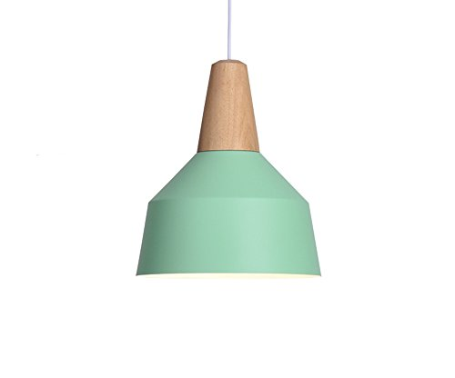 BOKT 60W Edison Lights Modern Industrial Pendant Lamp Colorful Hanging Chandelier Shade Light E26/E27 Base Painted Finish Solid Wood Series Single head (A-Light (Green Painted Base)