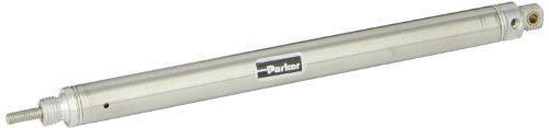 Single Acting Spring - Parker .56PSR04.0 Stainless Steel 304 Air Cylinder, Round Body, Single Acting, Spring Return, Pivot Mount, Non-cushioned, 9/16 inches Bore, 4 inches Stroke, 3/16 inches Rod OD, #10 UNF Port