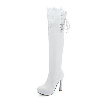 Heart&M Mujer Zapatos Semicuero Invierno Innovador Botas de Moda Botas Tacón Stiletto Dedo redondo Botas altas Para Boda Fiesta y Noche Blanco white