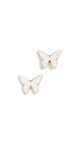 Jennifer Zeuner Jewelry Women's Mariah Mini Enamel Earrings, White/Gold, One Size ()