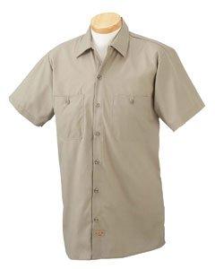 Dickies Premium Industrial Short Sleeve Work Shirt in Khaki - - Blend Shirt Work